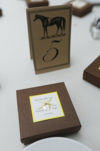"Their favors - horseshoe shaped soaps in a cute box that read, ""Just Got Hitched!"""